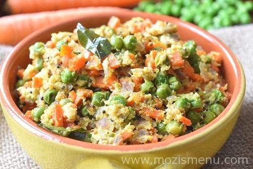 Carrot Peas kootu / Carrot Peas Stir-fry