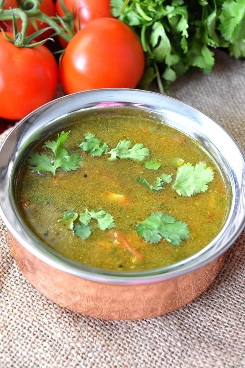 Tomato Coriander Rasam / Saaru / Chaaru / Soup